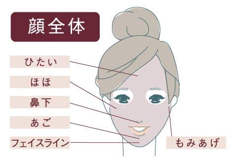 顔の医療脱毛イラスト ひたい 頬 鼻下 あご フェイスライン もみあげ